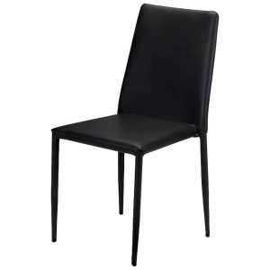 Jazz Stacking Chair Black Faux Leather