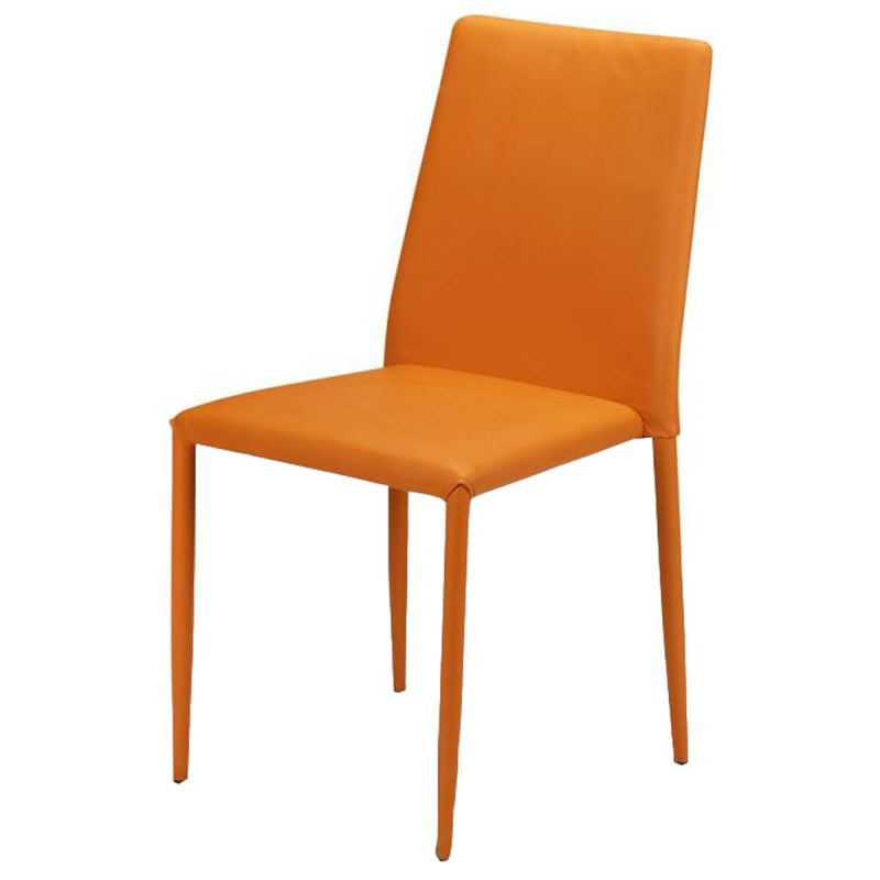 Jazz Stacking Chair Orange Faux Leather