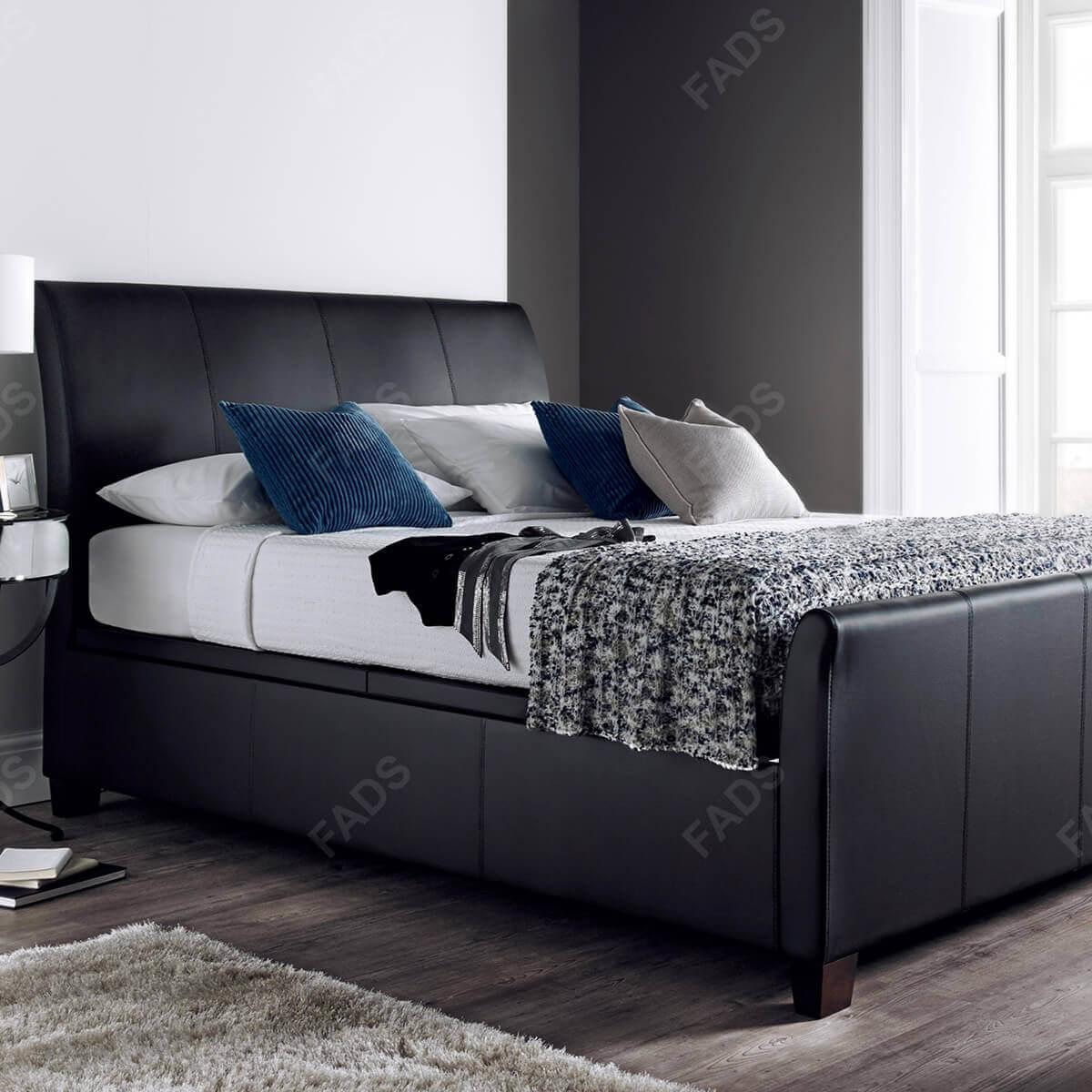 Kaydian Allendale Ottoman Bed Black Bonded Leather 2