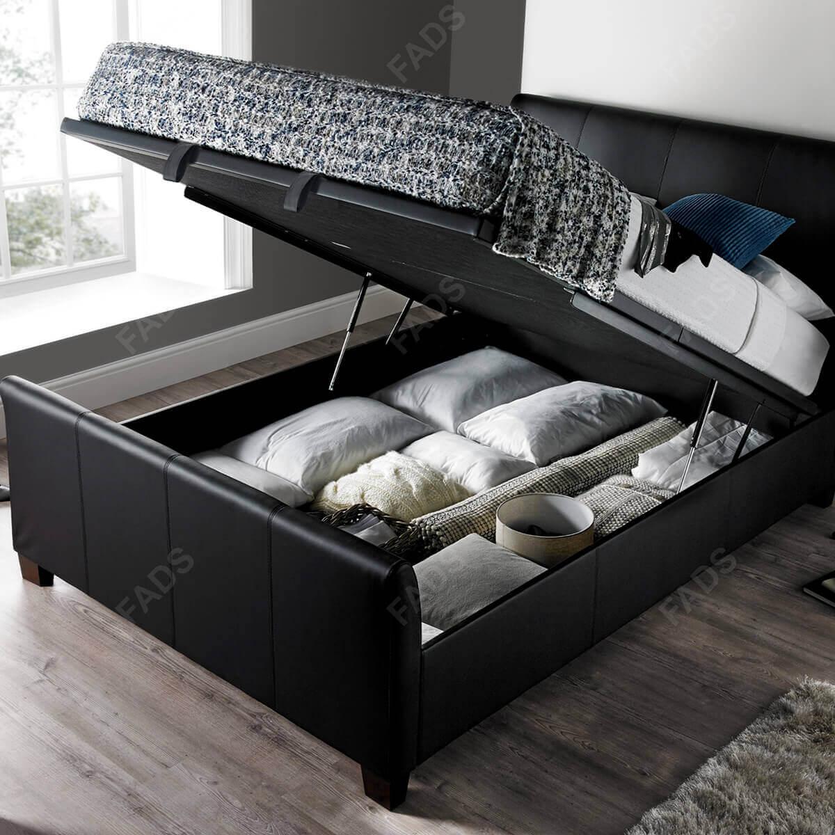 Kaydian Allendale Ottoman Bed Black Bonded Leather 3