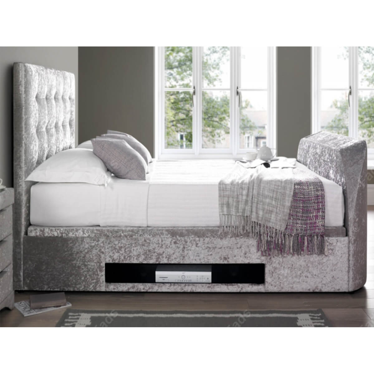 Kaydian Barnard Ottoman Tv Bed Crushed Velvet Silver Tv