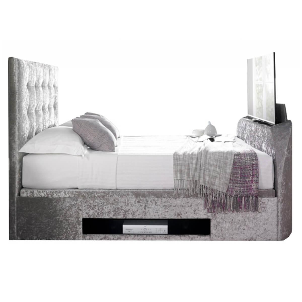 Kaydian Barnard Ottoman TV Bed Crushed Velvet Silver