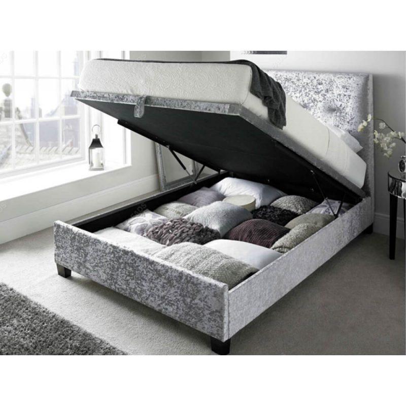 Kaydian Walkworth Ottoman Storage Bed Crushed Silver 2