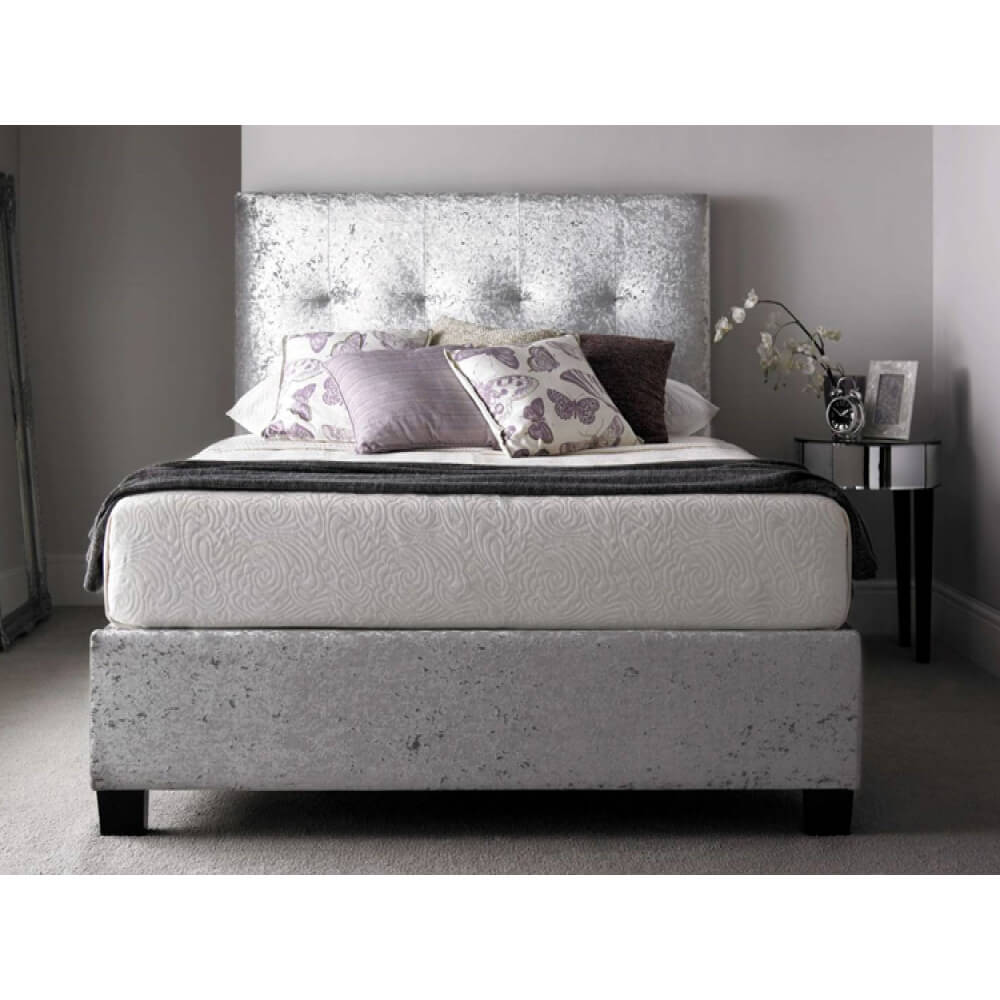 kaydian walkworth ottoman bed frame crushed velvet silver. Black Bedroom Furniture Sets. Home Design Ideas