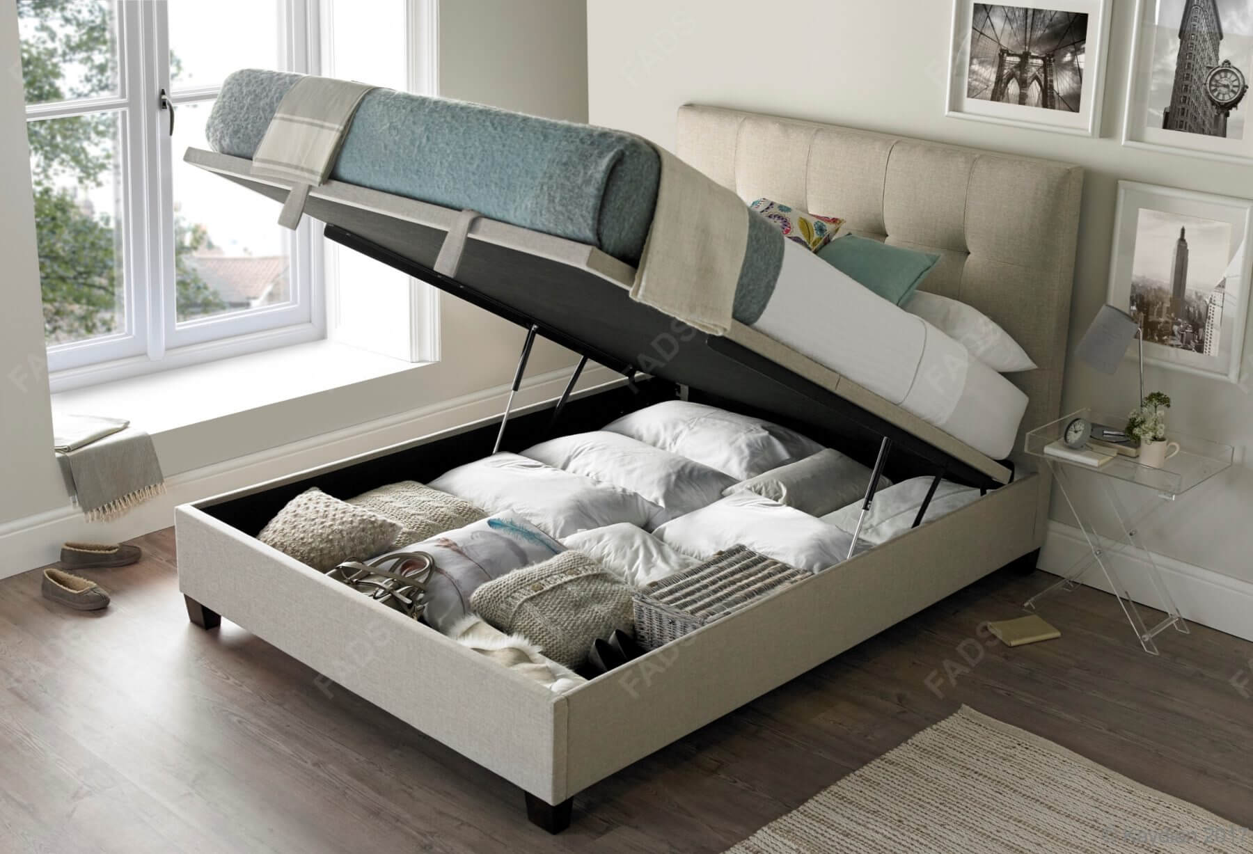 Kaydian Walkworth Fabric Ottoman Bed Free Delivery Fads