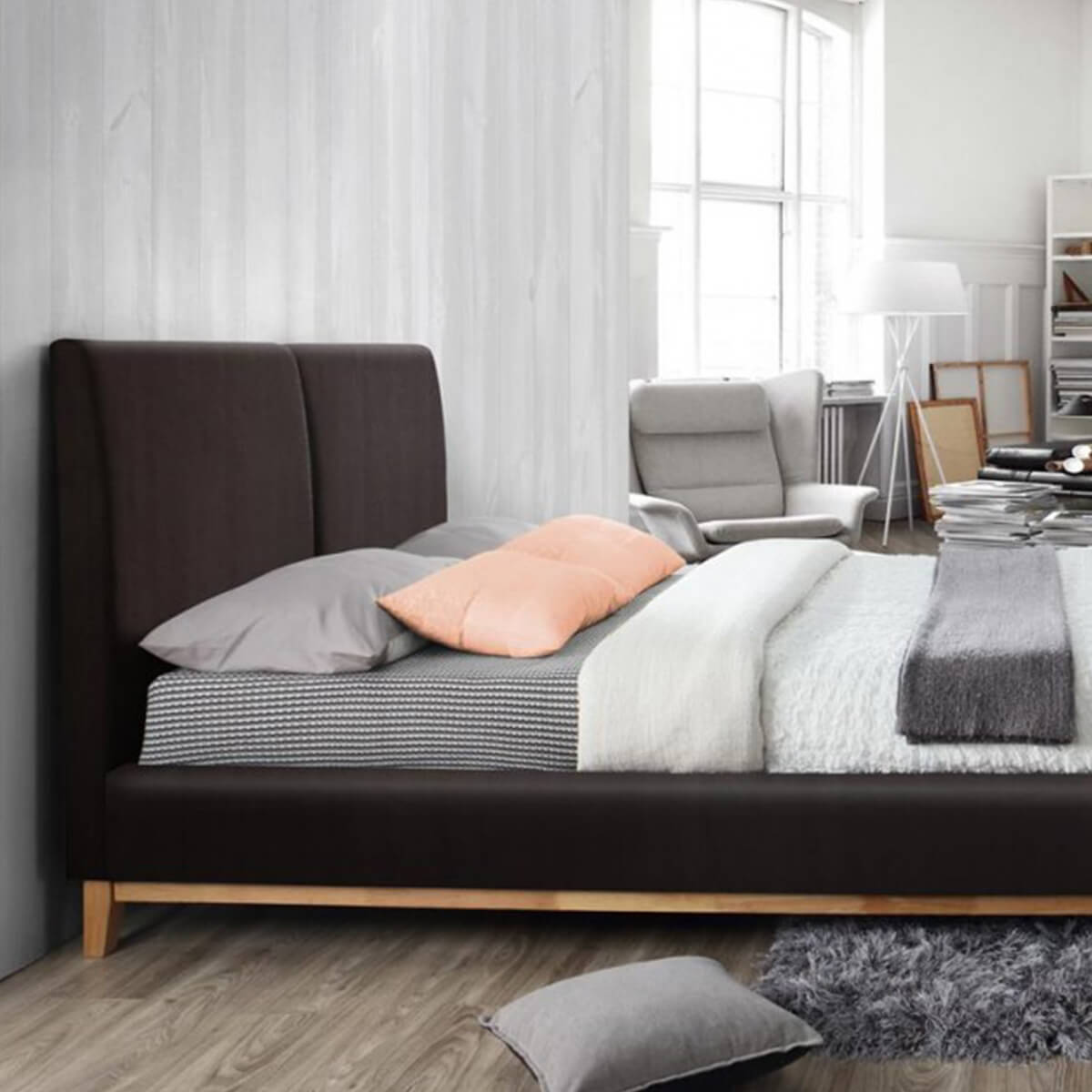 Kemi Bed Frame Brown Faux Leather 8