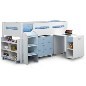 Kiddo Single Cabin Bed Sky Blue & White