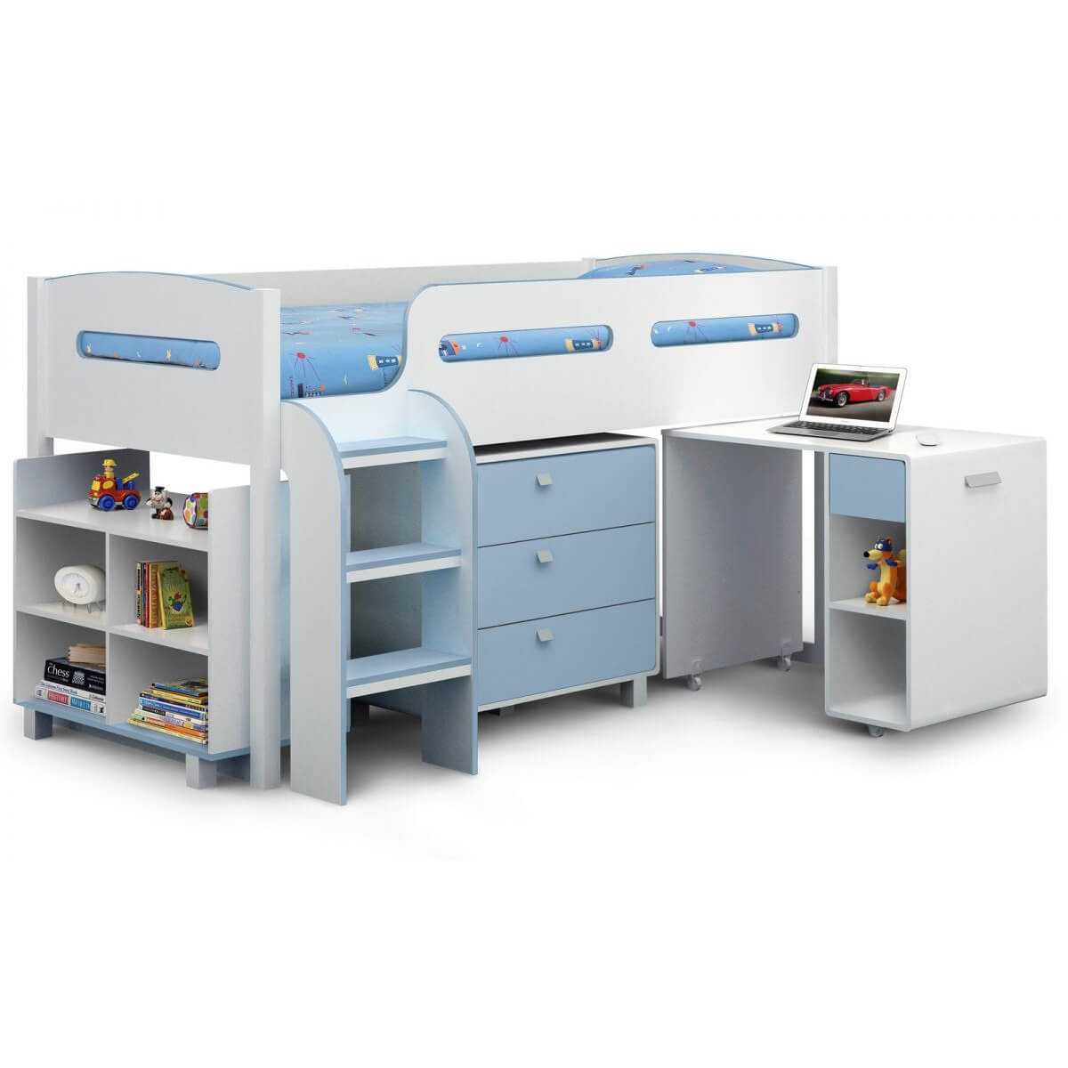 Kiddo Single Cabin Bed Sky Blue & White