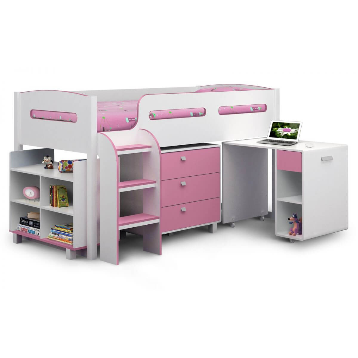 Kiddo Single Cabin Bed With Storage Pink and White