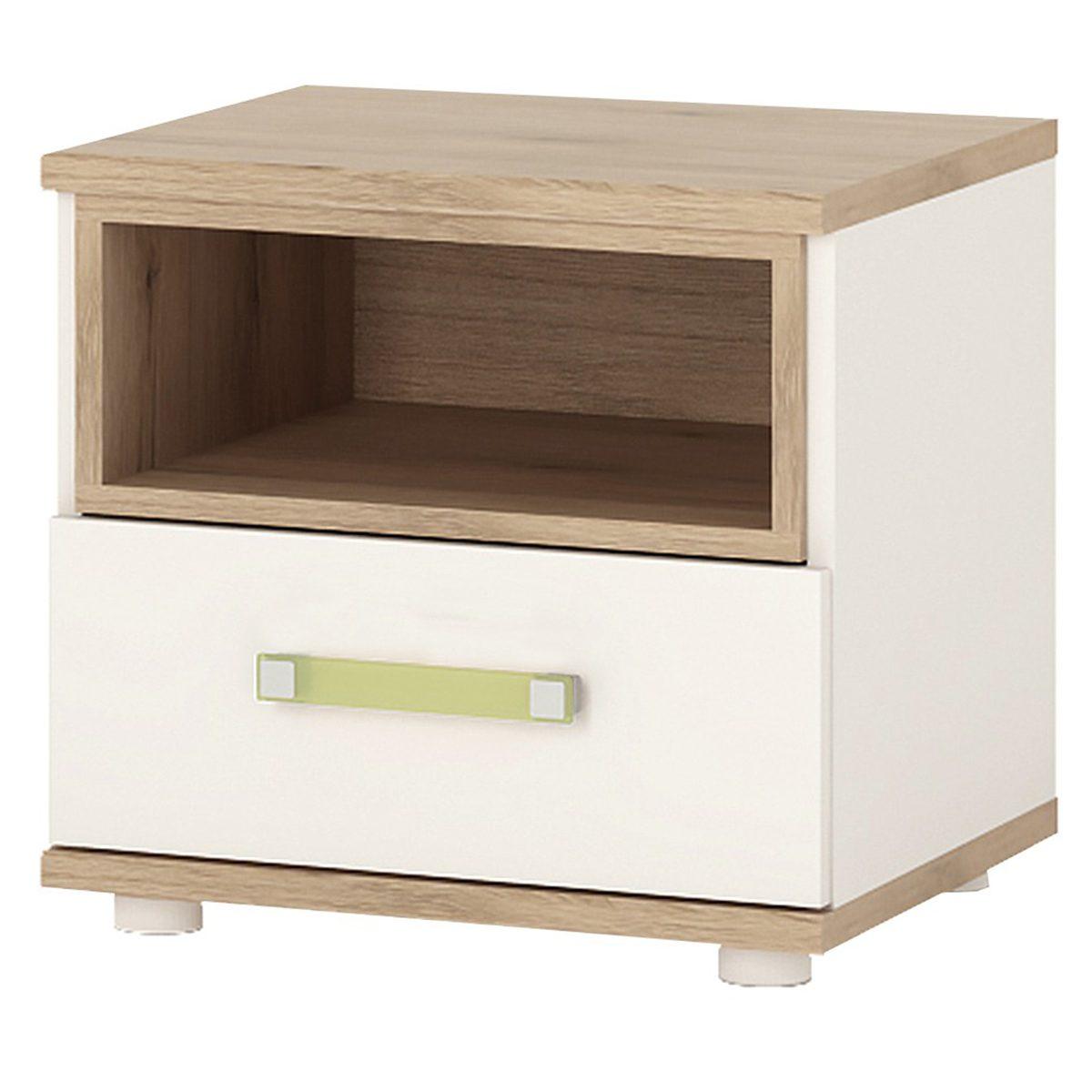 iKids 1 Drawer Bedside Cabinet with Lemon Coloured Handle