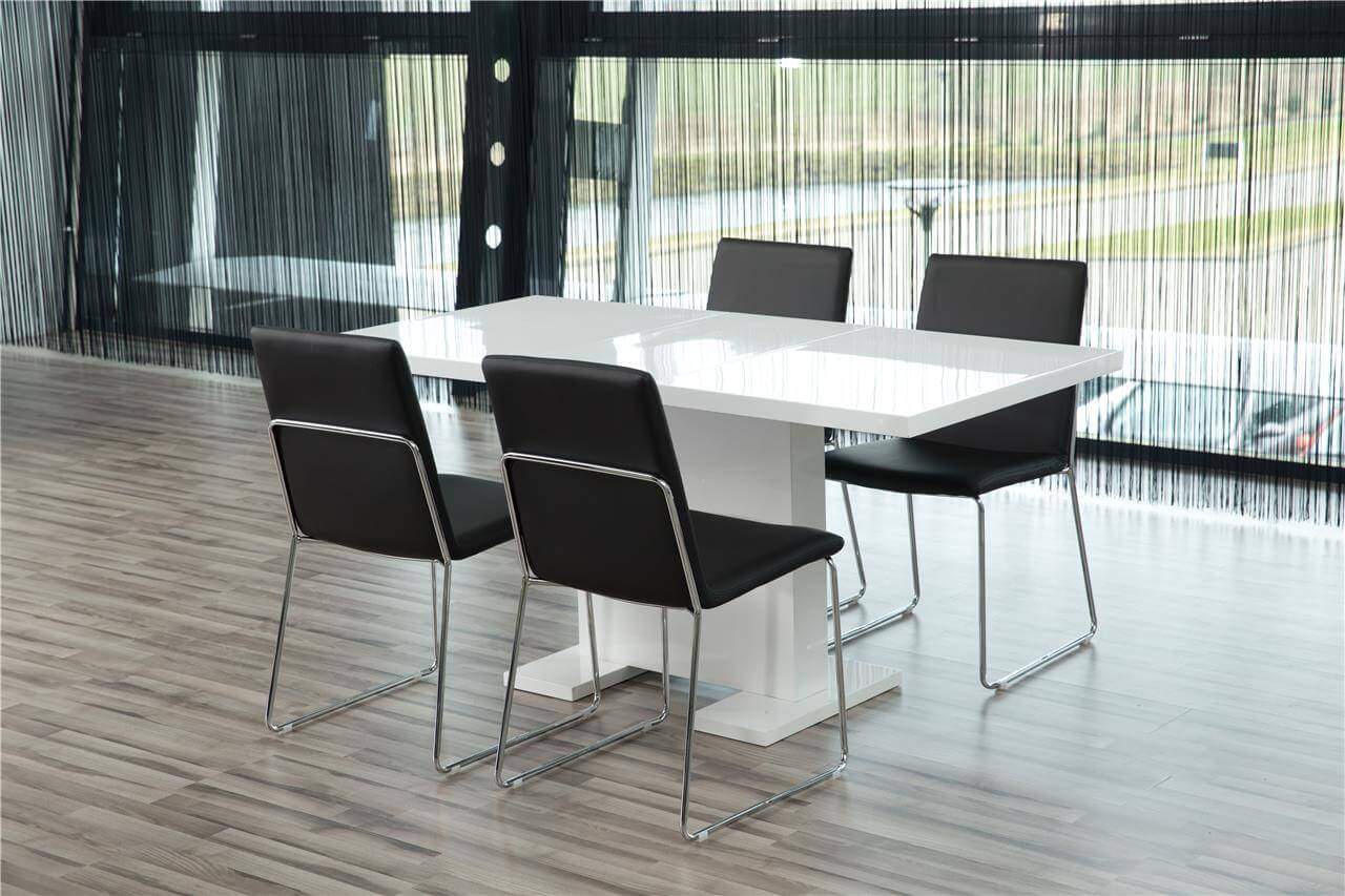 Kitos Black Dining Chairs & Chrome 2