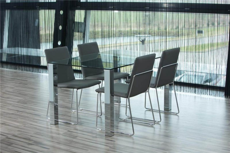 Kitos Light Grey Dining Chairs Faux Leather & Chrome 2