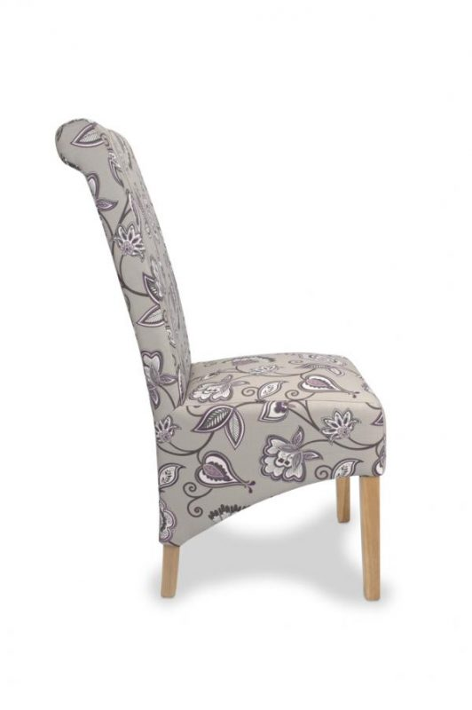 Krista Amethyst Fabric Floral Dining Chairs 3