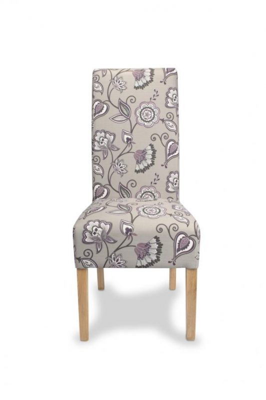 Krista Amethyst Fabric Floral Dining Chairs 2