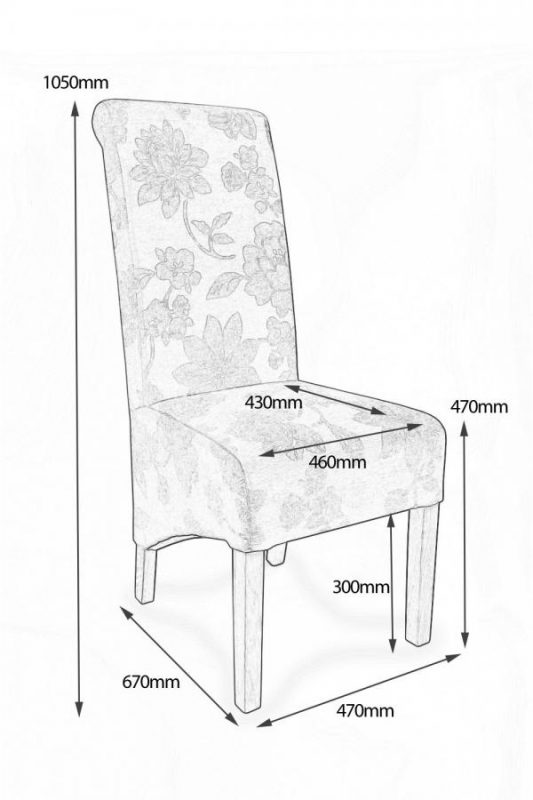 Krista Amethyst Fabric Floral Dining Chairs 4