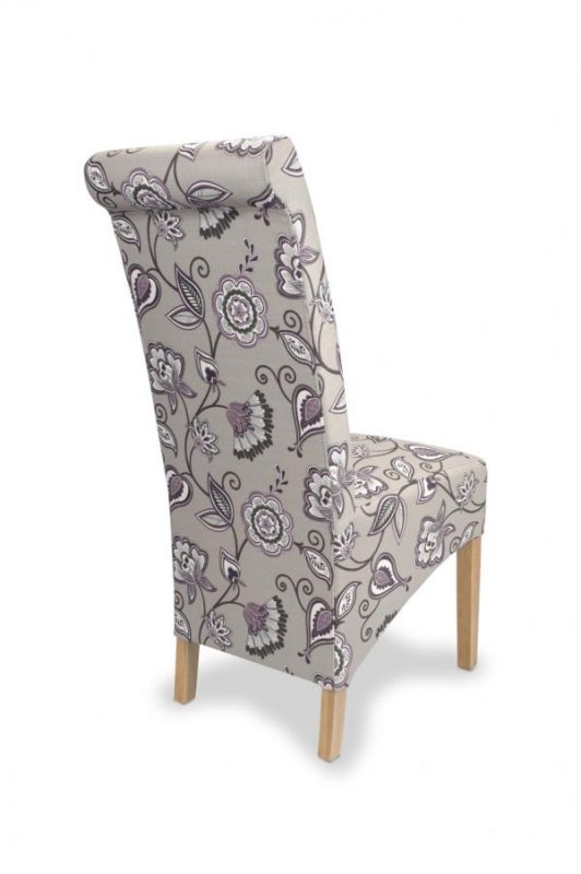 Krista Amethyst Fabric Floral Dining Chairs 1