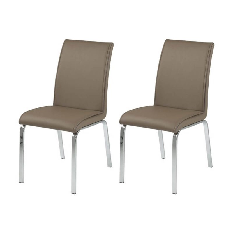 Leonora Multi Coloured Dining Chairs Taupe Faux Leather