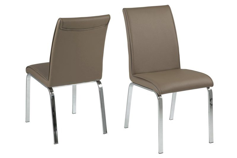Leonora Taupe Faux Leather Dining Chairs 1