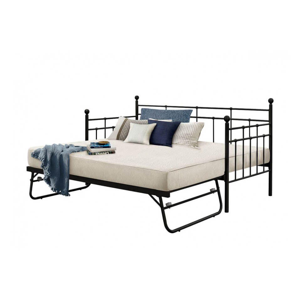 Lille Metal Daybed & Optional Trundle (Various Colours Available) (Bed Colour: Black, Options: Daybed & Trundle)