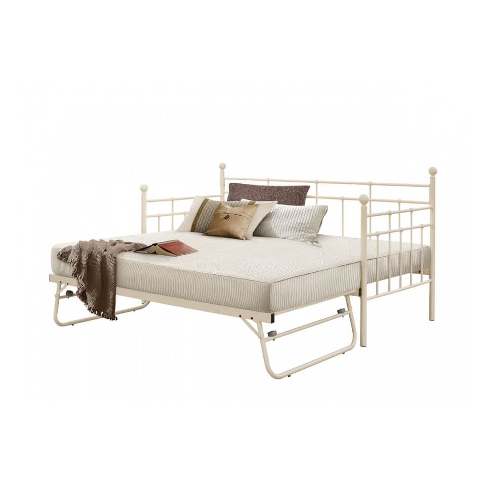 Lille Metal Daybed & Optional Trundle (Various Colours Available) (Bed Colour: Cream, Options: Daybed & Trundle)