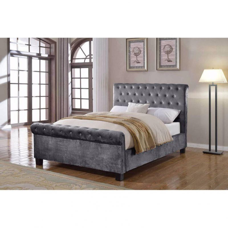 Lily Silver Chenille Fabric Bed 2