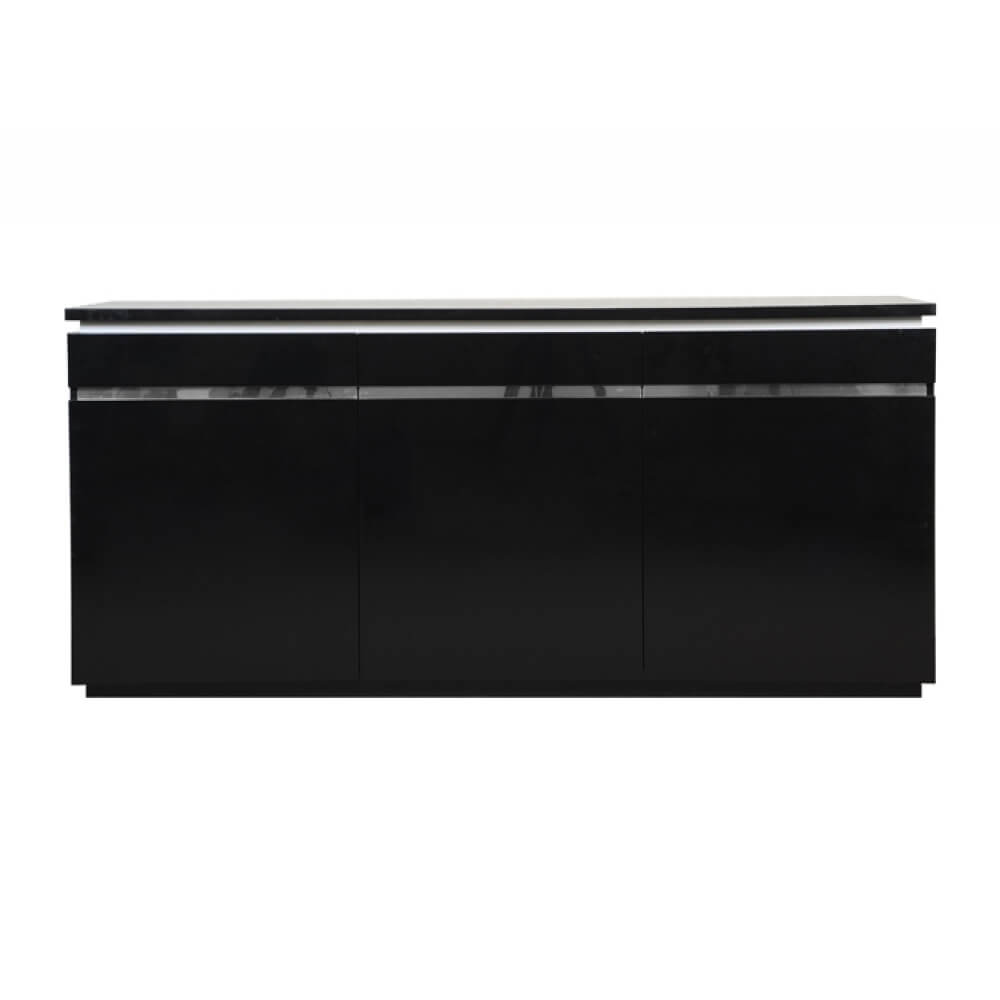 Logan Sideboard Black High Gloss 3 Door with Lights