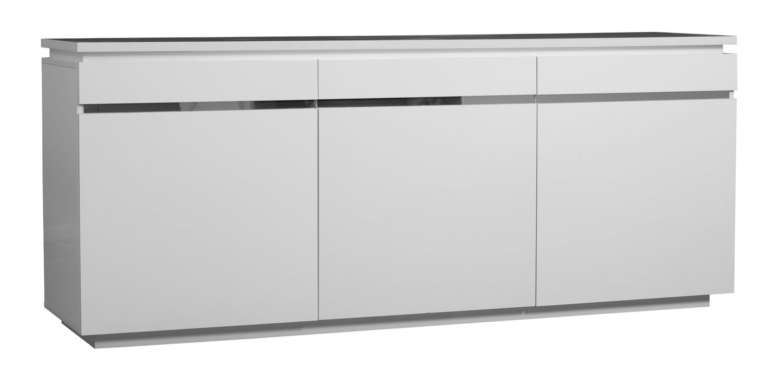 logan sideboard white high gloss 3 door with lights sideboards fads. Black Bedroom Furniture Sets. Home Design Ideas