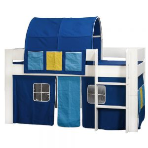 London Kids Mid Sleeper Bed White With Blue Accessories