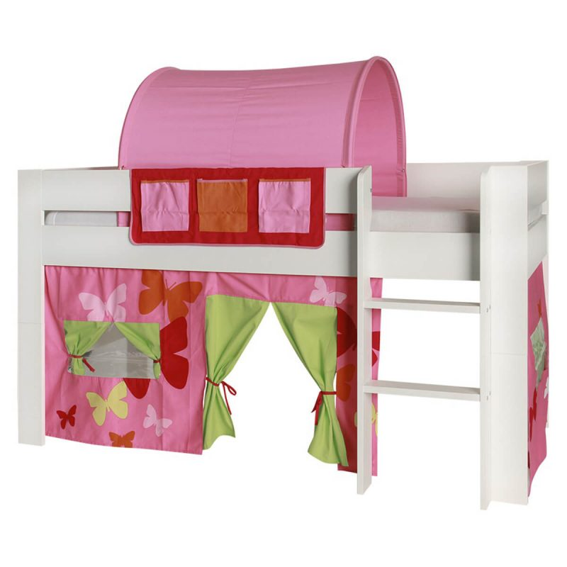 London Kids Mid Sleeper Bed White With Butterfly Pink Accessories