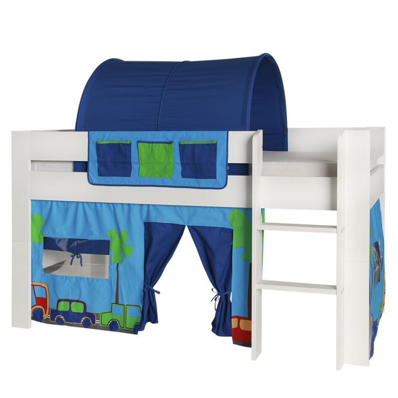 London Kids Mid Sleeper Bed White With Cars Accessories