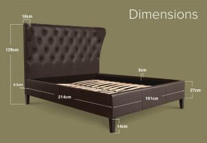 Lottie Faux Leather Bed Frame Dimensions Brown King