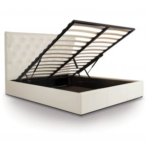 Lottie Faux Leather Ottoman Bed Frame White 2