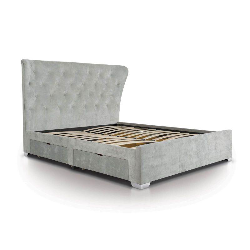 Lottie Light Grey Crushed Velvet Bed with Storage Drawers 1