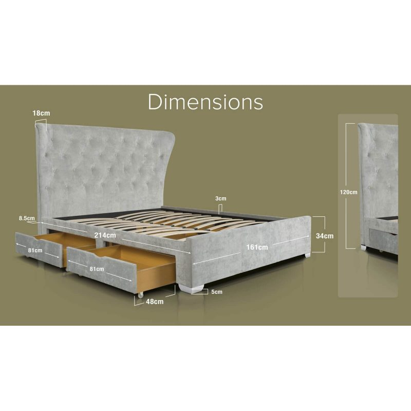 Lottie Light Grey Crushed Velvet Bed with Storage Drawers Dimensions King