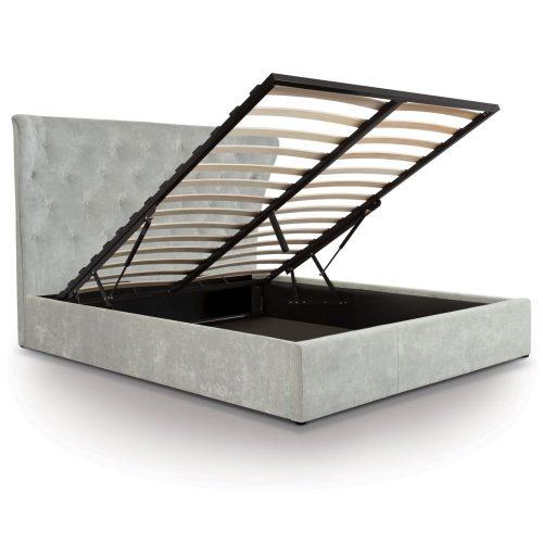 Lottie Light Grey Crushed Velvet Ottoman Bed 2