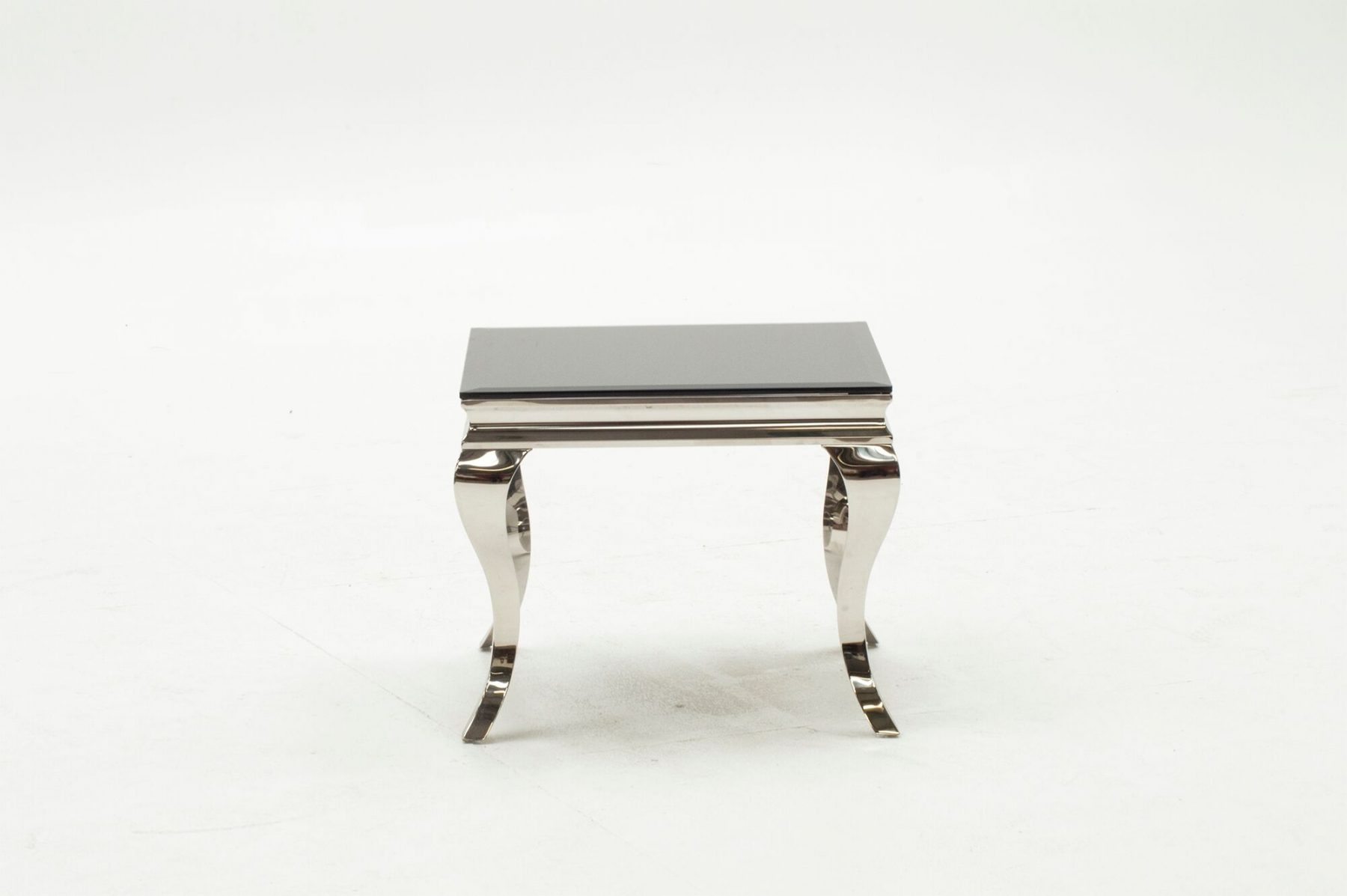 Louis Black Glass & Stainless Steel Lamp Table