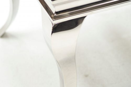 Louis Square Lamp Table Black Glass & Stainless Steel 5