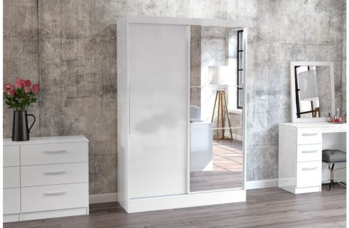 Lynx Sliding Door Mirrored Wardrobe 132cm White Gloss 2