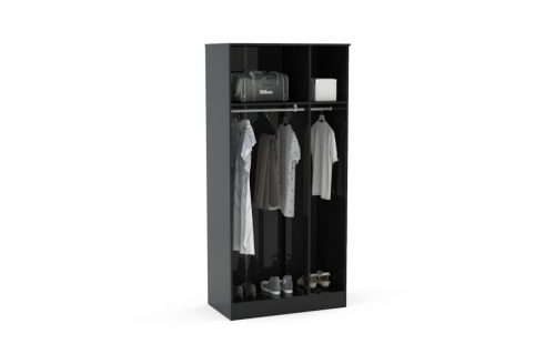 Lynx 3 Door Mirrored Wardrobe 93cm Grey & Black 2