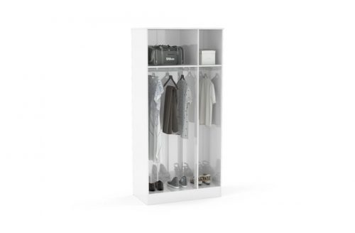 Lynx 3 Door Mirrored Wardrobe 93cm White Gloss 3