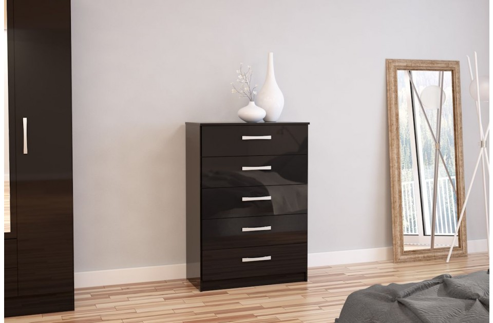 Lynx 5 Drawer Chest Black Gloss 3