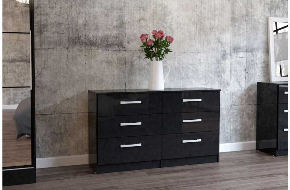 Lynx 6 Drawer Wide Chest Black Gloss 3