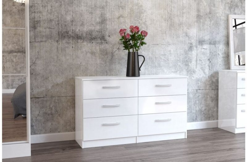 Lynx 6 Drawer Wide Chest White Gloss Assembled 3