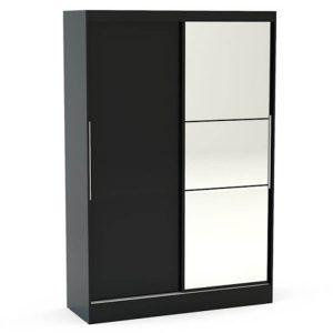 Lynx Sliding Door Mirrored Wardrobe 132cm Black Gloss