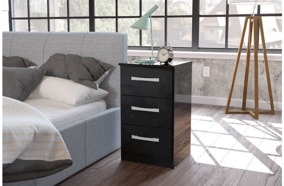 Lynx Bedside Black Gloss 3 Drawer 2