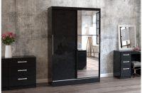 Lynx Sliding Door Mirrored Wardrobe 132cm Black Gloss 2