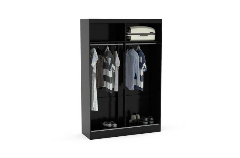 Lynx Sliding Door Mirrored Wardrobe 132cm Black Gloss 3