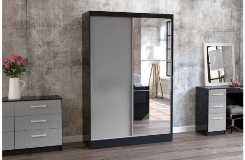 Lynx Sliding Door Mirrored Wardrobe 132cm Grey & Black Gloss 4