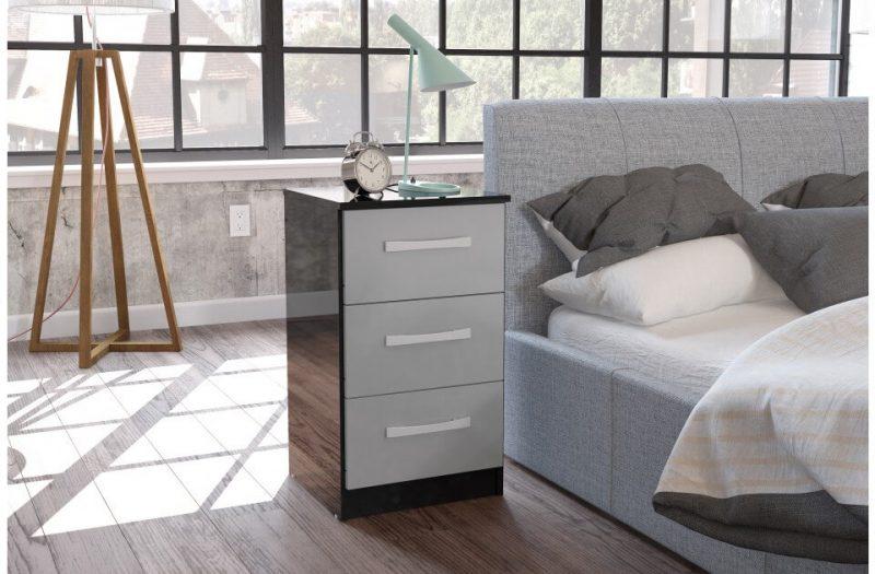 Lynx Bedside 3 Drawer Grey & Black 2