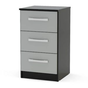 Lynx Bedside 3 Drawer Grey & Black